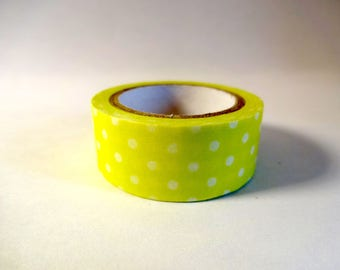 Masking tape green lime and white polka dots - Scrapbook - embellishment