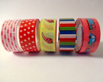 5 masking colorful step - Chiles, cars, stripes, polka dots (A)