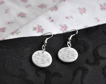 Limoges white porcelain earrings