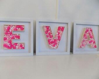 Framed Pom Pom letters