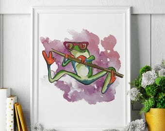 Tree Frog - Watercolor Painting - Tree Frog Art - Tree Frog Painting - Tree Frog Print - Animal Watercolor Print