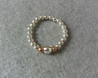 Sterling Silver Stretch Ring, rose gold bead ring, silver bead Ring, stretch Rings, stacking rings, gift for her