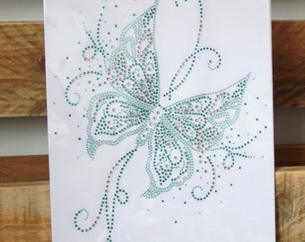 Butterfly rhinestones fusible 20 x 26cm