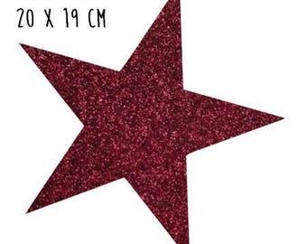 Star pattern fusible thin 20 x 19 cm Burgundy glitter