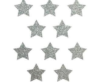 10 stars hot-melt silver glittery 15x15mm