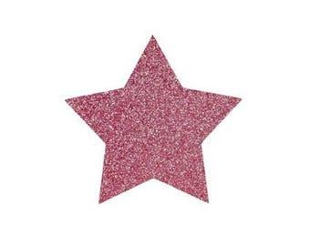 5 X 4.8 cm light pink glittery star fusible pattern