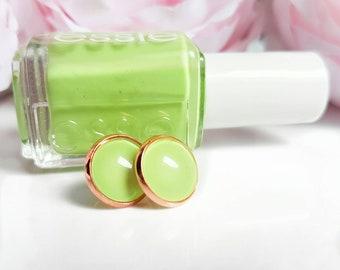 "Essie cabochon Earrings ""Vibrant vibes"" 12 mm handmade stud earrings-spring-wedding-Bridal Jewelry"