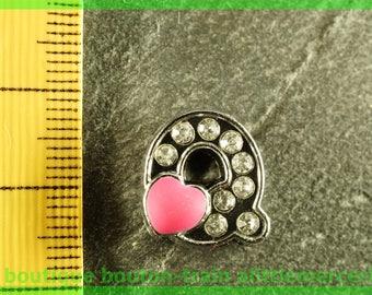 Pearl Heart N2 q bandwidth rhinestone alphabet for bracelet
