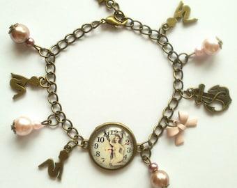 "Bronze bracelet ""Pinup Navy"" charm"