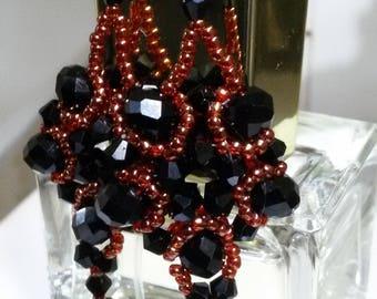 Black crystal earrings, beaded earrings, pendant earrings, gold and black earrings, elegant earrings, handmade earrings