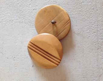 Vintage round wooden buttons