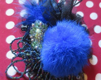 """Brooch Shabby Chic Vintage """"Pearl Moon"""" Black mesh and Royal Blue lace"""