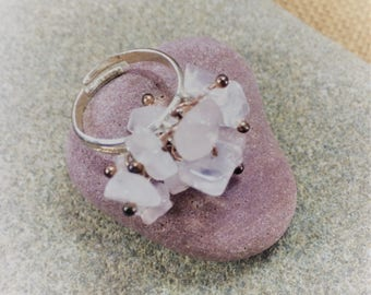 Rose quartz gemstone cluster ring (adjustable multi size) with rose gold plated decoration and silver plated  base