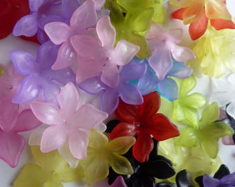 Set of 30mm frosted effect lucite flower