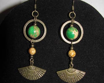 Earrings green Variscites, Jasper and fan, ethnic spirit