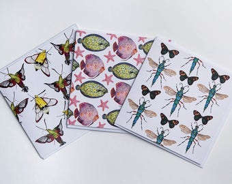 Pack of 3 Illustrated insect & sea creature Greetings Cards