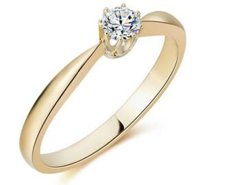 Diamond Engagement Ring, 18K Yellow Gold Eengagement Ring