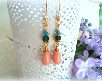 Earrings Swarovski Elements-pearls pink coral Crystal pearls Swarovsji faceted Burgundy and blue Zircon