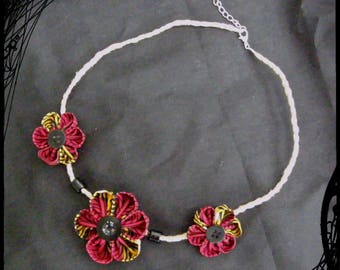 "Kanzashi Flower necklace ""burning"" Autumn"""