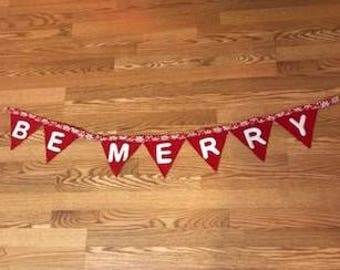 Be Merry Red Wool Banner