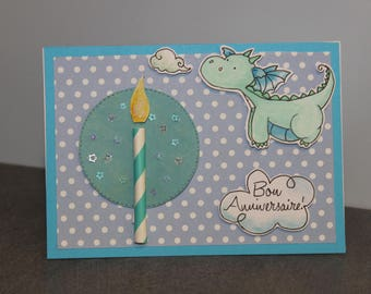 card announcement birthday dragon blowing a candle