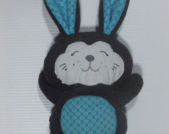 THE TOY GRAY AND TURQUOISE COTTON AND FLEECE