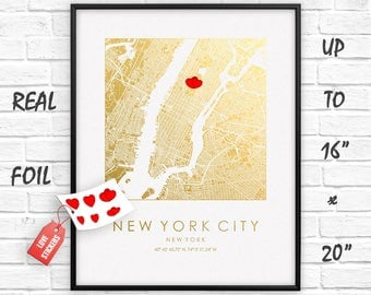 """New York City 16""""x20"""" Map Gold Print, Square City Map, Real Gold Foil, New York City Poster, New York City Print, Gift, US, GoldenGraphy"""