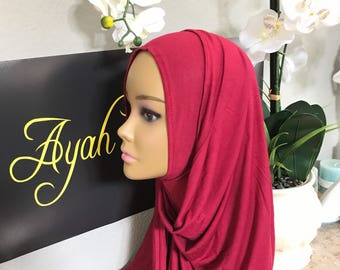 Jersey cotton stretch Hijab all in one , no pin needed long