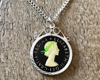 1962 Enamel Sixpence Coin Necklace. Vintage Lucky Sixpence Jewellery. Great birthday gift for Mum, Gran, Daughter, Niece, Friend.