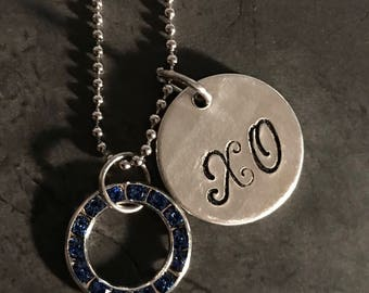 Valentines Day personalized hand atamped necklace jewelry X and O with Swarovski crystal!