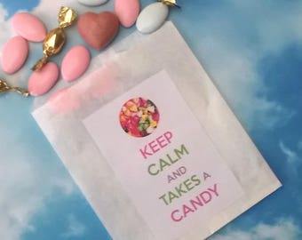 "12 bags of candy for candy bar ""Keep calm and takes a candy"""
