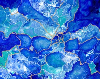Tangled- Original blue and teal abstract fluid art painting with gold and white detail