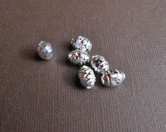 6 oval beads, metal silver 9 x 7 mm