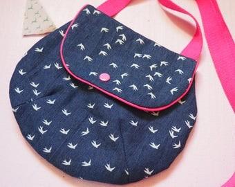 Blue jean white birds shoulder bag