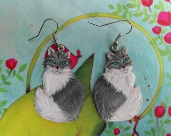 """Earrings ' """"Angora cats"""" earrings made of cold porcelain & silver"""