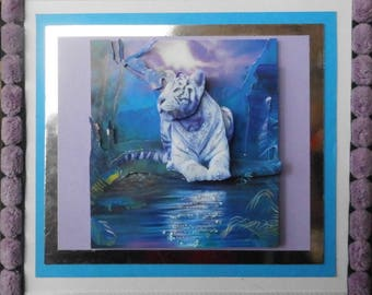 White Tiger on sunset 3D card