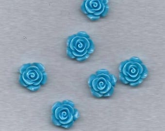 set of 6 blue resin roses to stick