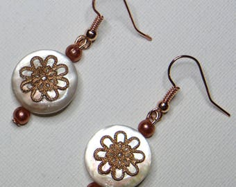 Earrings Pearl and copper - #772