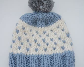 Cap light blue white with heart alpaca wool