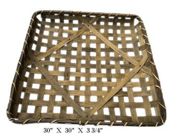 """30"""" Huge Square Tobacco Wood Basket Vintage Primitive Look Country Farmhouse Rustic Chic 30"""" x 30"""" x 3 3/4"""""""