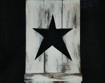 Primitive plaque, wood pallet plaque, primitive star, wood decor