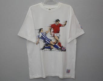Vintage 90s World Cup USA Soccer Football Sports  White Cotton T Shirt Size L
