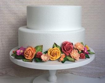 Tropical pink and orange cake wrap