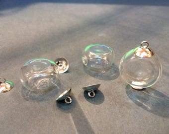 10 cabochons flattened globe glass pendant with 21mm for jewelry hobby fill