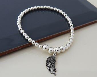 Wing Bracelet, Sterling Silver Stacking Bracelet, 925 Antique Silver Wing charm Bracelet, Angel Wing Jewelry