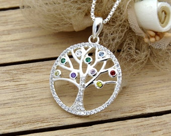 Mothers Birthstone Tree Necklace, Chakra Necklace, Sterling Silver Tree Necklace
