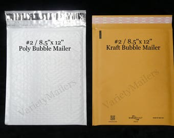 """16 Kraft & Poly Bubble Padded Envelope Mailer Combo #2 / 8.5""""x 12"""" Self-Sealing Made in The USA ~ Free Shipping!"""