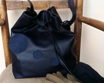 Navy faux leather bag