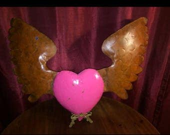 Recycled Metal Pink Heart and Wings Wall Decor