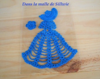 applique blue crinoline crochet for scrapbooking